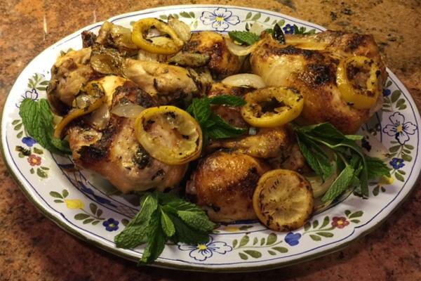 Platter of Lemon-Mint Chicken