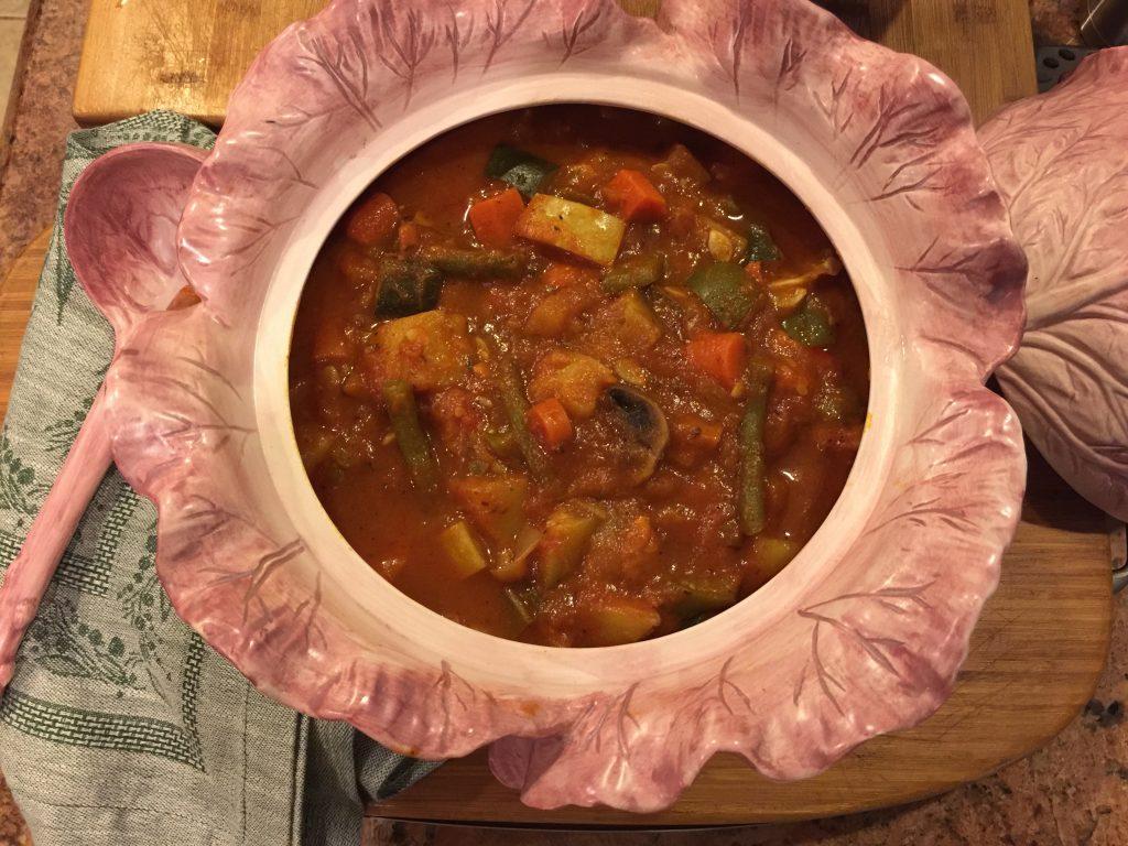 Italian veggie stew in vegetable terrine